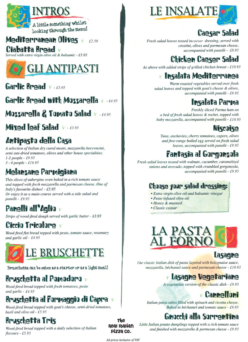 Pizza Menu 1 The Real Italian Pizza Company