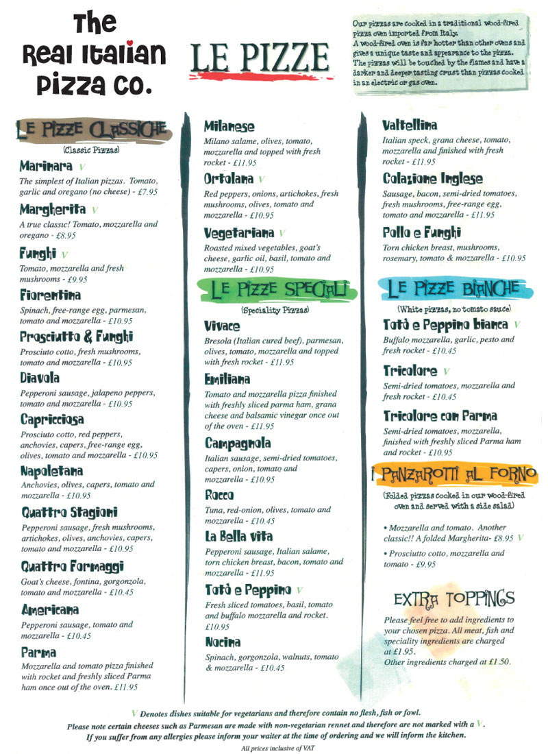 Pizza Menu 2 The Real Italian Pizza Company